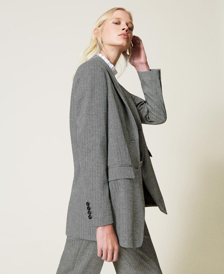 """Wool blend blazer with chevron pattern Black / """"Snow"""" White Chevron Woman 212TP2550-02"""