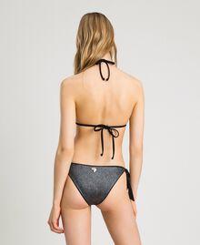 Glitter triangle bikini top with bow Black Woman 191LBM322-03