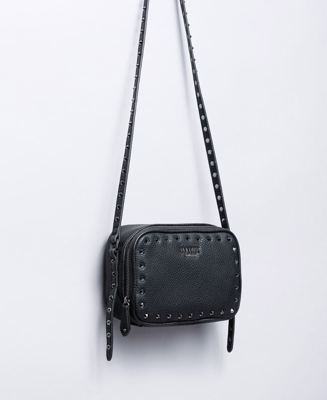 Faux leather studded shoulder bag Black Woman VA8PAE-01