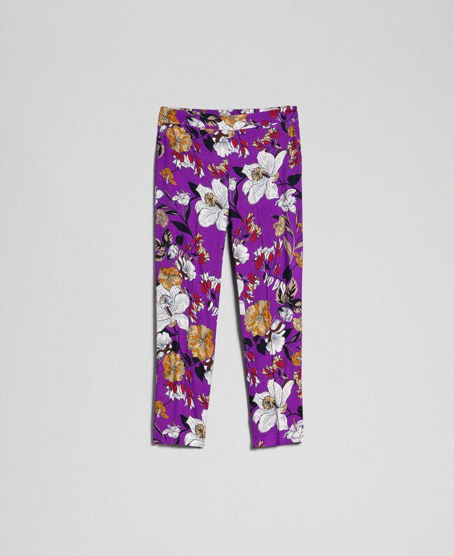 Pantalon cigarette avec imprimé floral Imprimé Fleurs d'Automne Violet Femme 192ST2224-0S