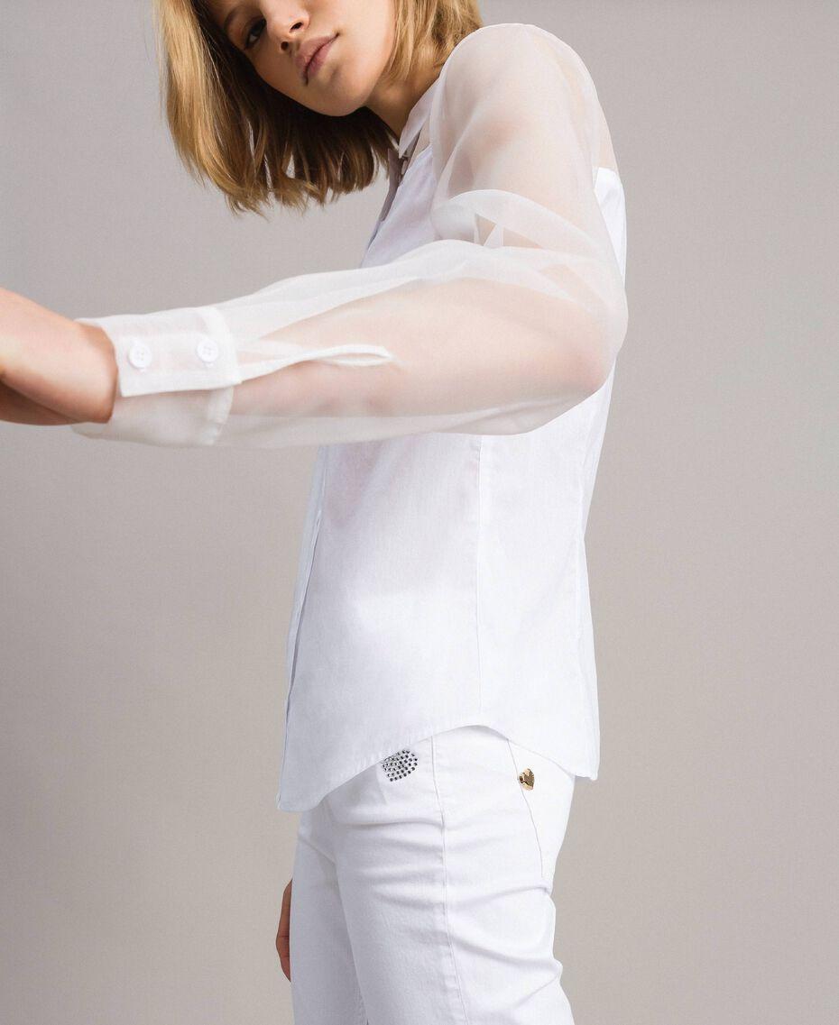Organza und Popeline-Hemd Weiß Frau 191MT2301-02