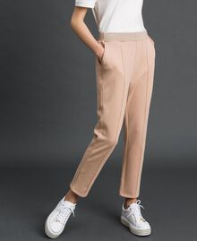 Cigarette trousers with lurex stripes Beige Nude Woman 192LI2GCC-03