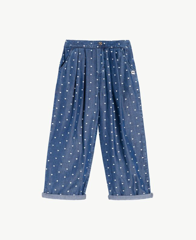 Heart trousers Denim Logo Print Child GS82MB-01