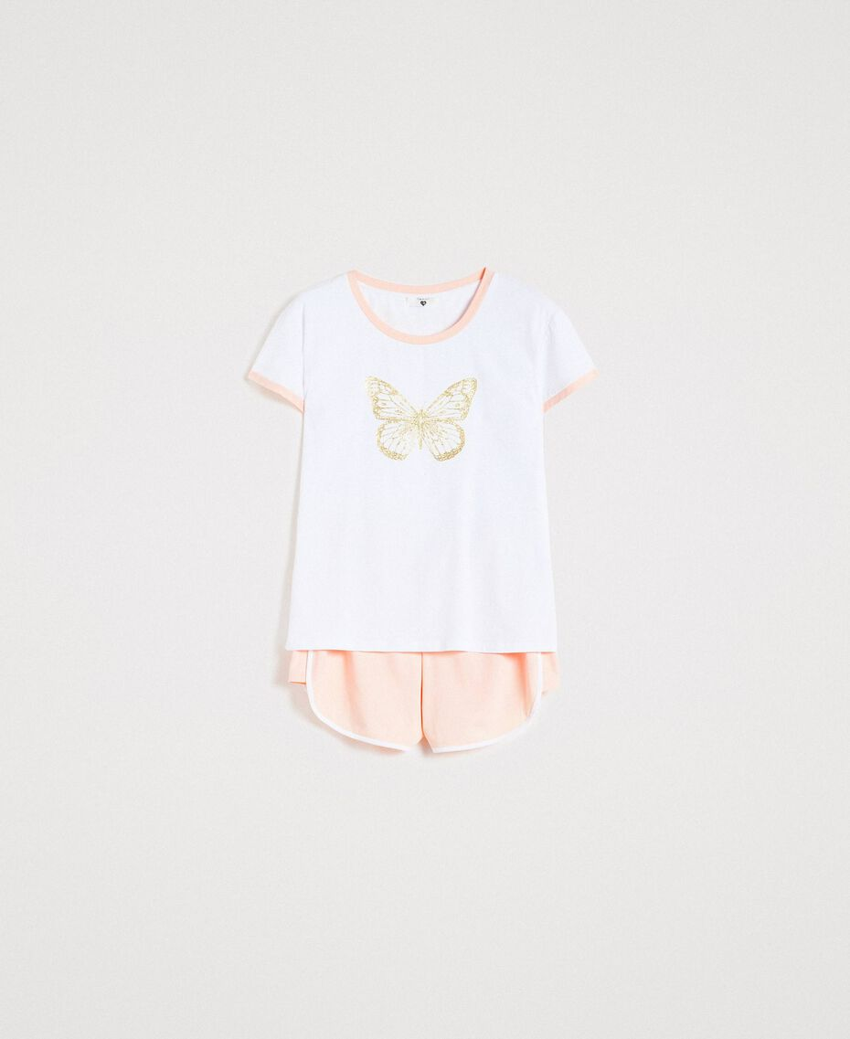 """Glitter butterfly short pajamas Two-tone Optical White / """"Pink Bouquet"""" Woman 191LL2GEE-01"""