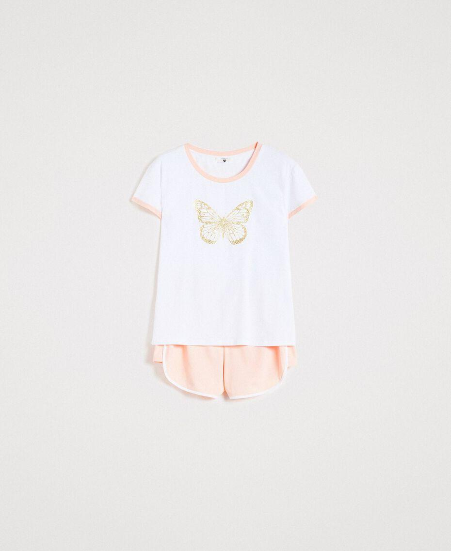 """Pyjama court avec papillon pailleté Bicolore Blanc Optique / """"Bouquet Rose"""" Femme 191LL2GEE-01"""