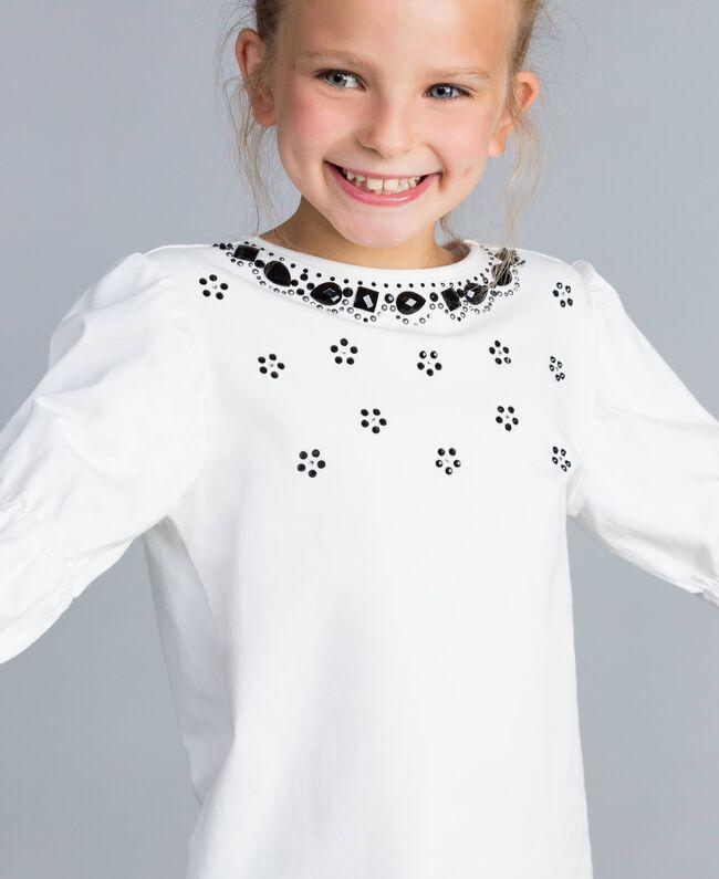Maxi T-shirt con strass e pietre Off White Bambina GA821N-04
