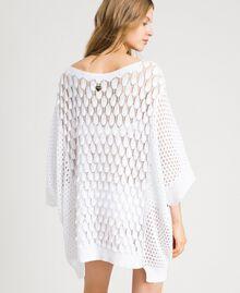 Poncho in maglia traforato Bianco Donna 191LB3GBB-03