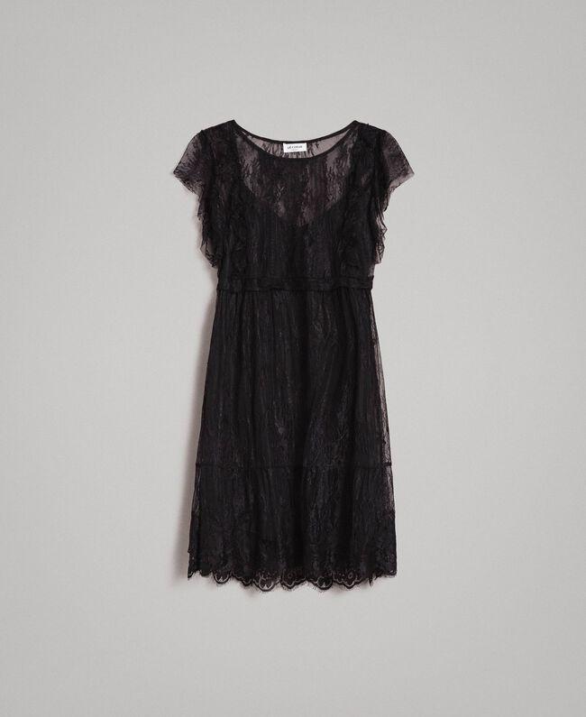 Chantilly lace dress with belt Black Woman 191ST2121-0S