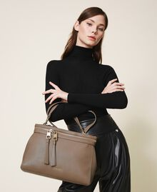Large faux leather New Cécile bag Turtledove Woman 202TB7180-0S