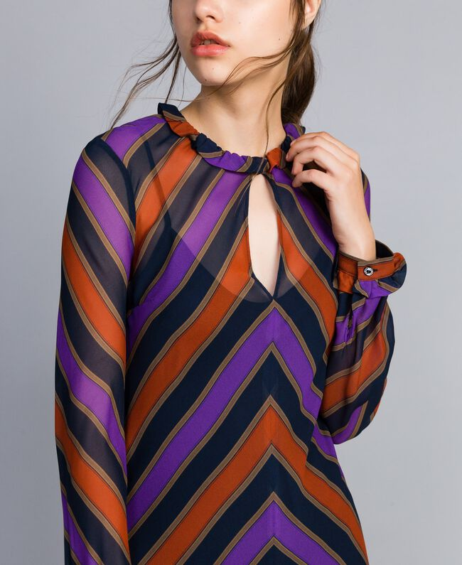 Robe en crêpe georgette rayé Imprimé Rayure Multicolore Femme TA8295-04