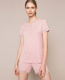"""Short ribbed pyjamas with lace """"Peachskin"""" Pink Woman 201LL25EE-01"""