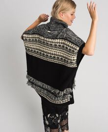 Poncho en mélange de laine et mohair jacquard Noir Femme 192LL3AJJ-04