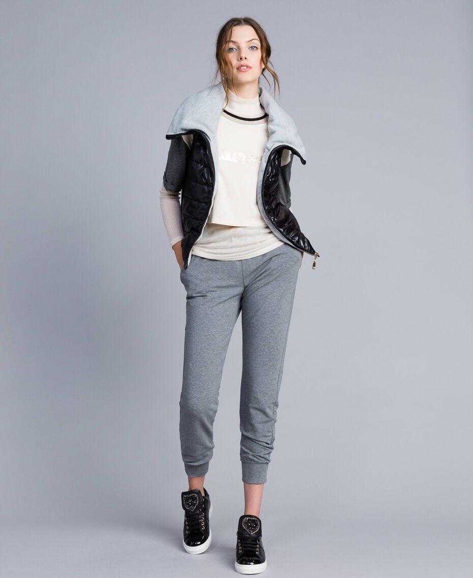T-shirt court en jersey Bicolore Blanc / Gris Chiné Femme IA81JJ-0T