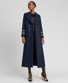 Double breasted wool cloth long coat Midnight Blue Woman 192TT2160-02