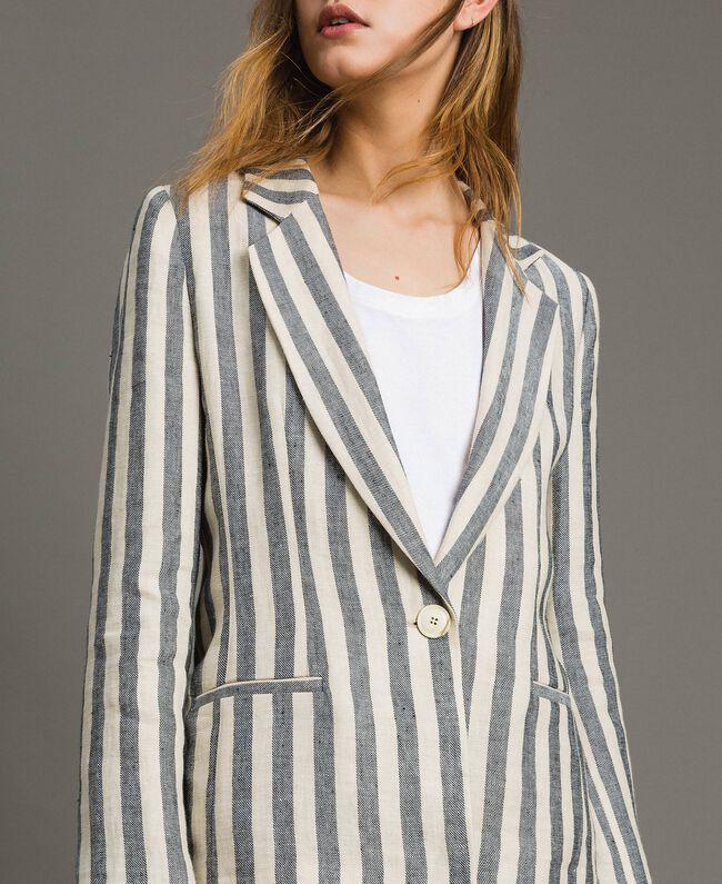 "Two-tone striped linen jacket Two-tone Black / ""Marzipan"" Beige Woman 191TT2310-01"