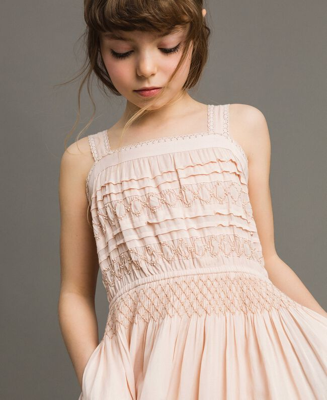 Long dress with embroideries Blossom Pink Child 191GJ2353-04