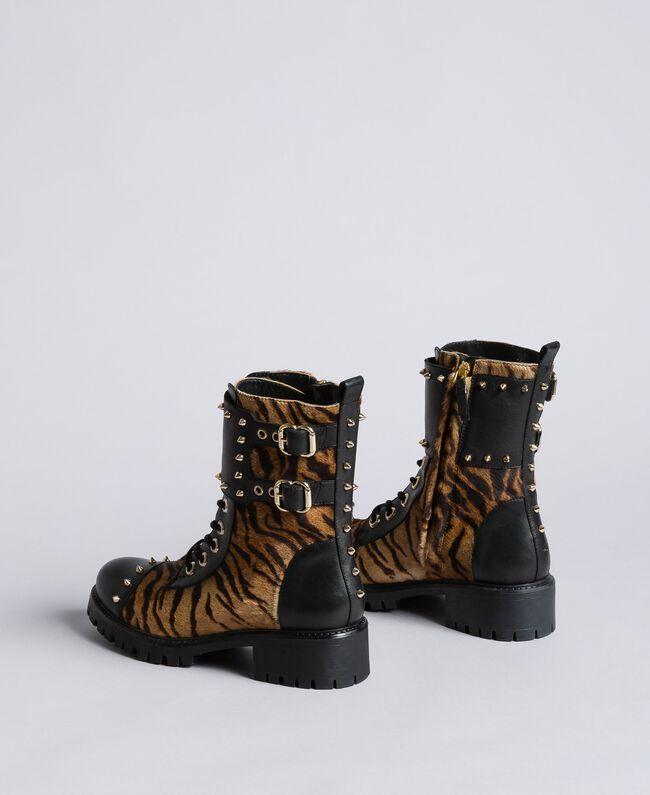 Boots en cuir avec insertions animalières Imprimé Tigre Femme CA8TEJ-04