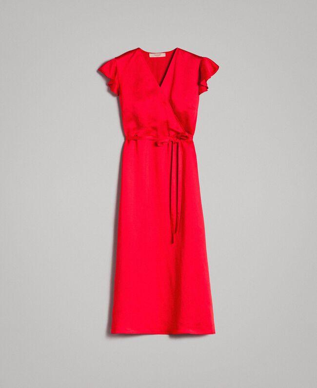 """Envers satin linen long dress """"Lipstick Red"""" Woman 191TT2303-0S"""
