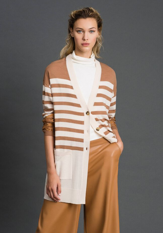 Wool blend maxi cardigan with stripes and lace