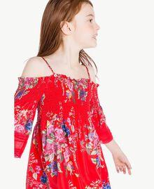 Kleid mit Blumenprint Blumenprint / Granatapfelrot Kind GS82E1-05
