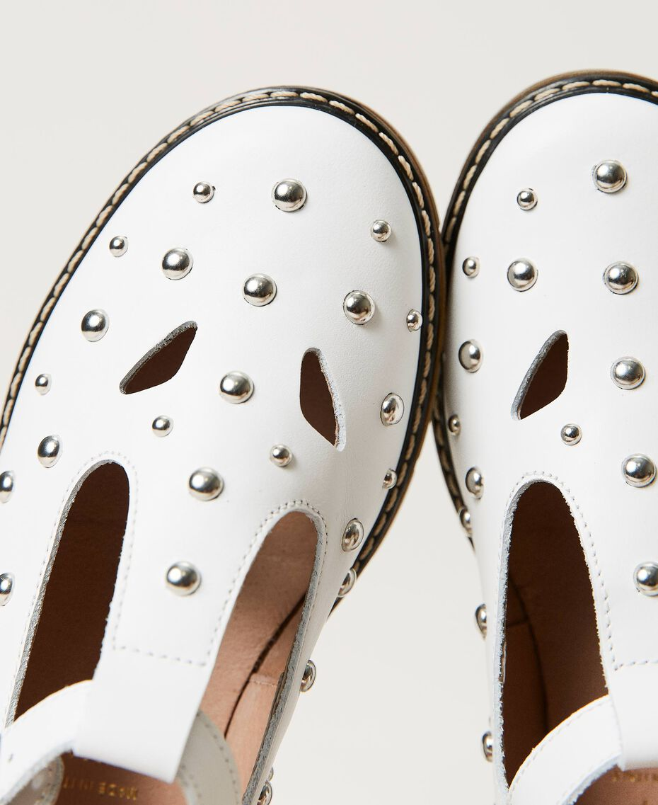 Bailarinas de piel con tachuelas White Nieve Niño 211GCJ130-03