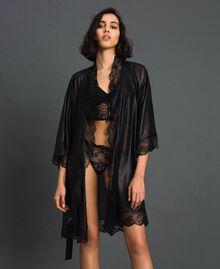 Robe de chambre en mousseline lamée Noir Femme 192LL2HCC-04