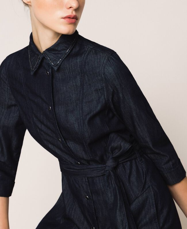 Длинное джинсовое платье-рубашка Синий Деним женщина 201MP2401-05