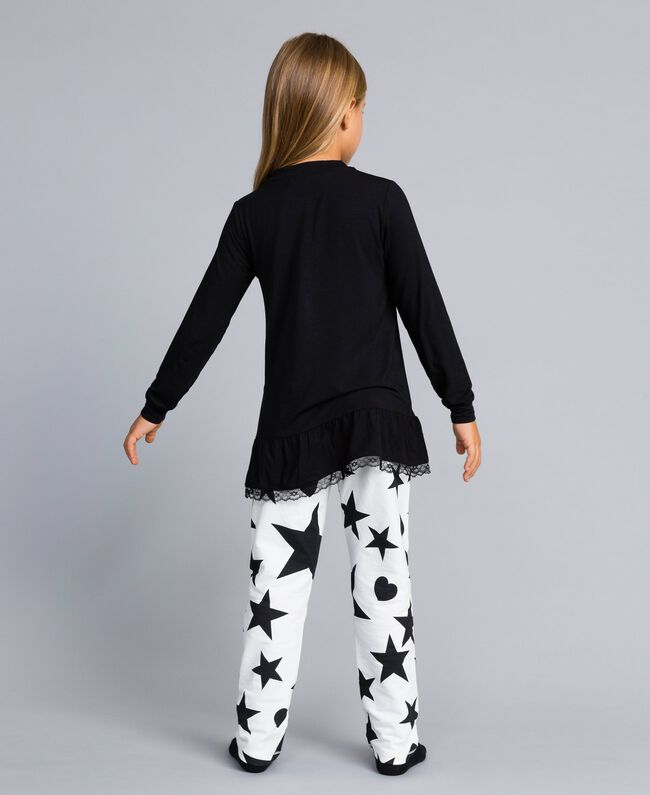 Jersey pyjamas with stars and hearts Bicolour Black / Star Print Child GA828E-04