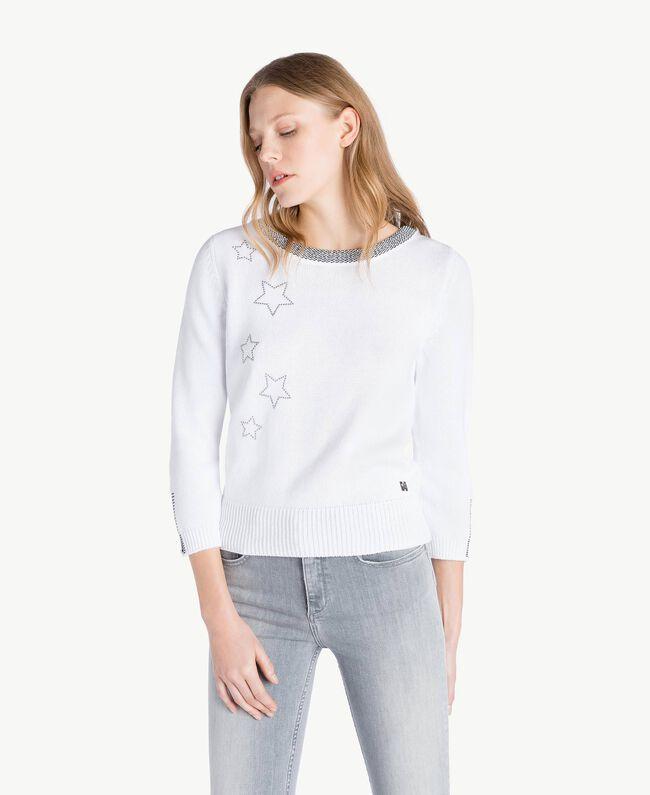 Pullover mit Sternen Zweifarbig Optisches Weiß / Schwarzer Lurex Frau JS83JA-01