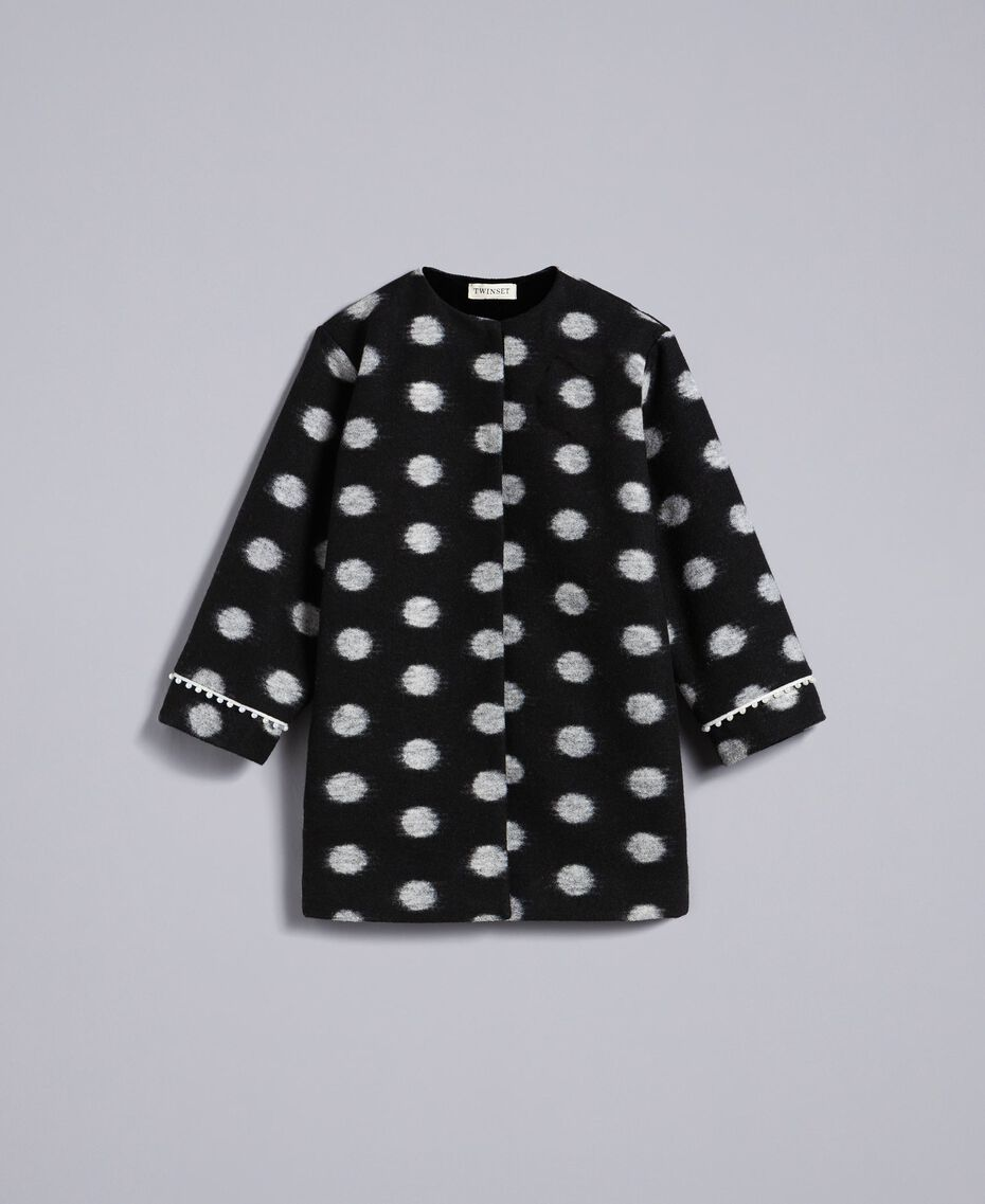 Пальто из сукна в горох Набивной Горох Черный / Желтовато-белый Pебенок GA82CG-01