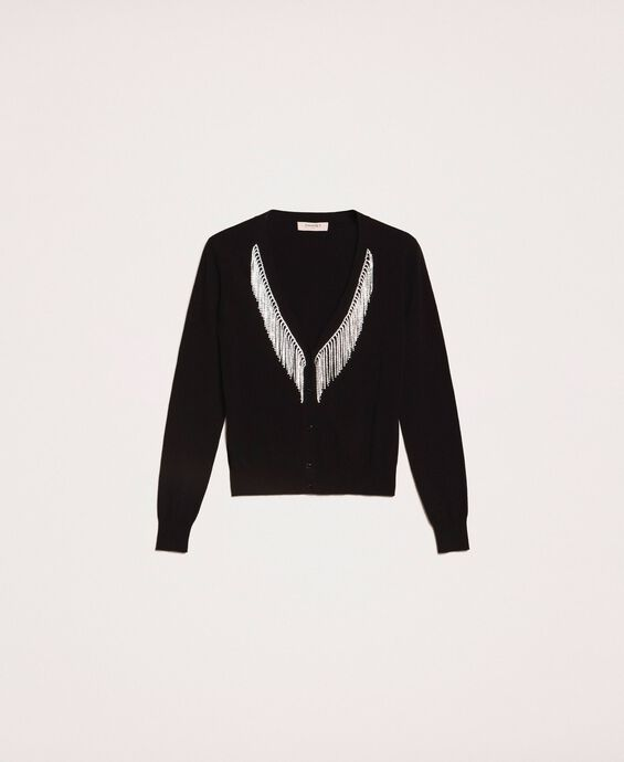 Cardigan with rhinestone fringes