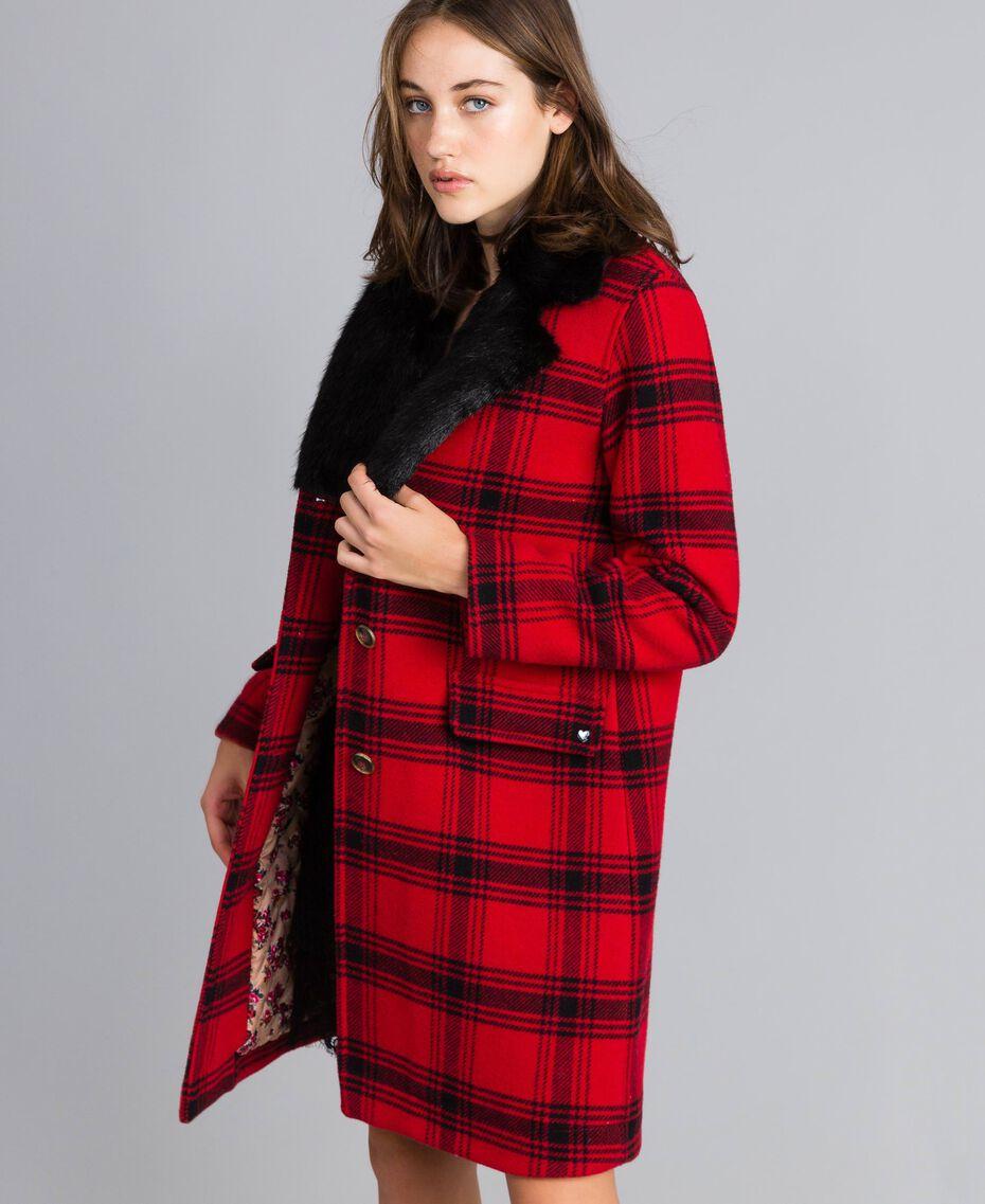 "Checked coat Bicolour ""Poppy"" Red / Black Tartan Woman YA82DQ-02"