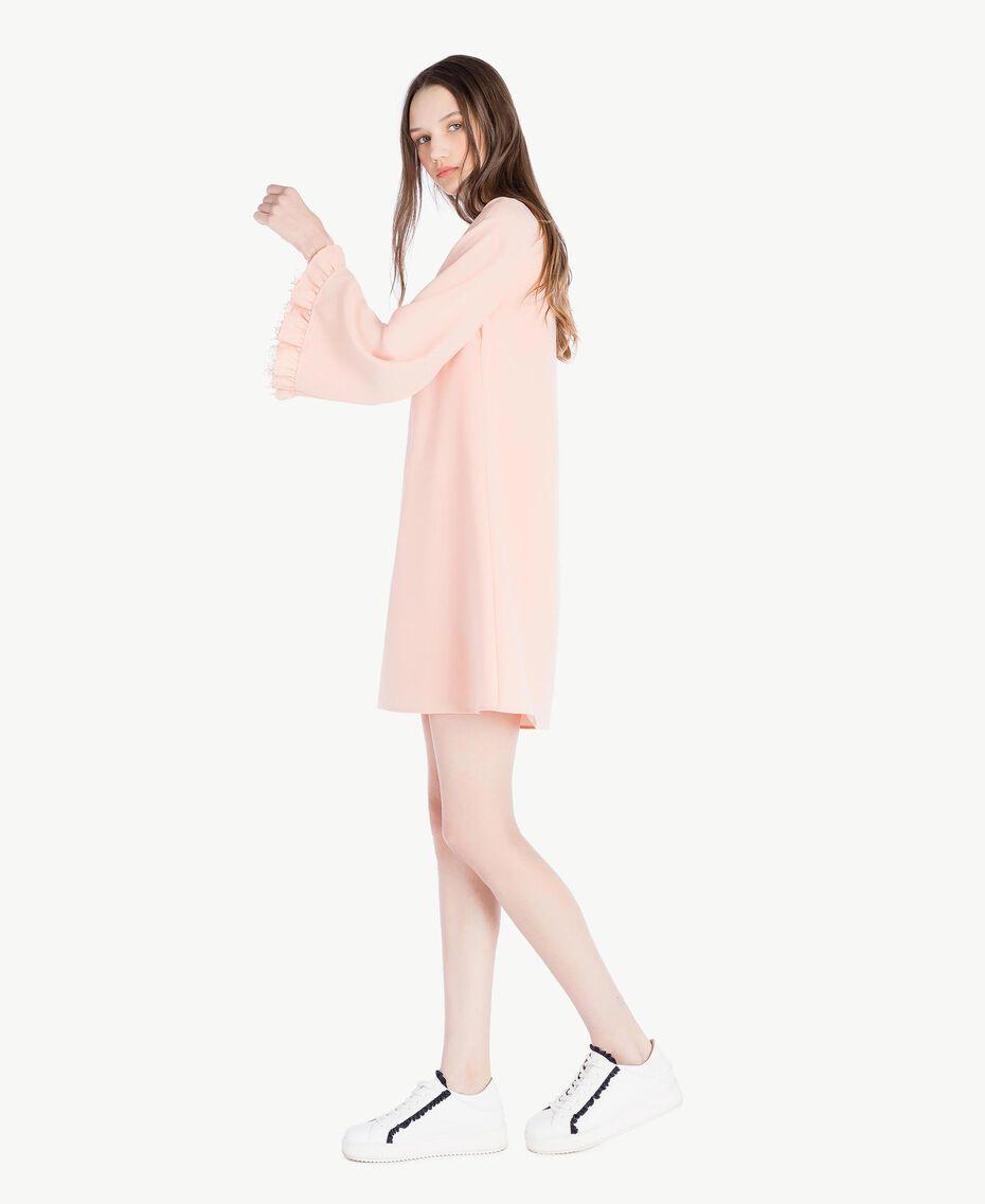 Kleid aus Cady Rosafarbener Sonnenaufgang Frau SS82AC-02