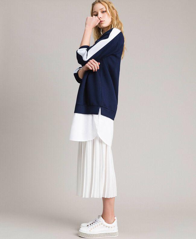 Robe longue plissée en scuba Bicolore Bleu Nuit / Blanc Soie Femme 191TP2066-01