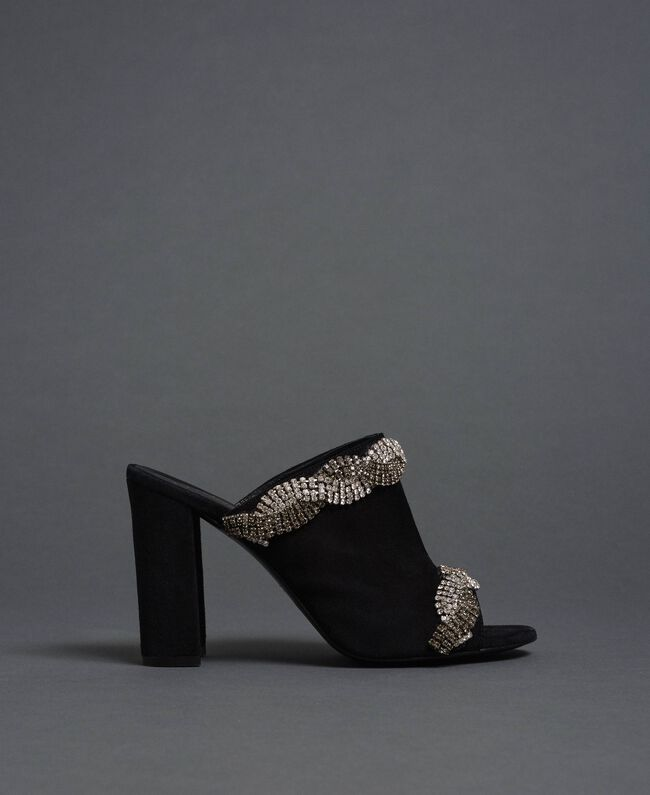 Suede mules with rhinestones Black Woman 192TCP12A-03