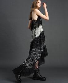 "Printed georgette long dress with lace Black and Vanilla ""Air De Neige"" Mix Print Woman 192MT2393-02"