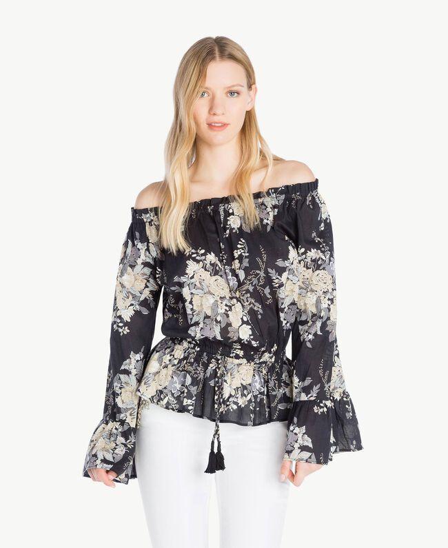 Bluse mit Print Blumenbouquetprint Schwarz Frau YS82PF-01