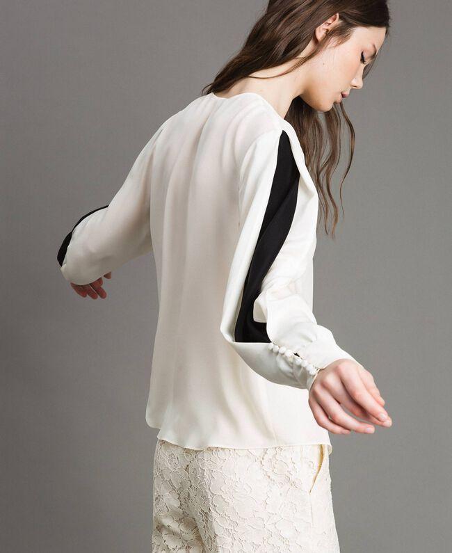 Bluse aus Seidenmischung Weiß Schnee Frau 191TP2141-04