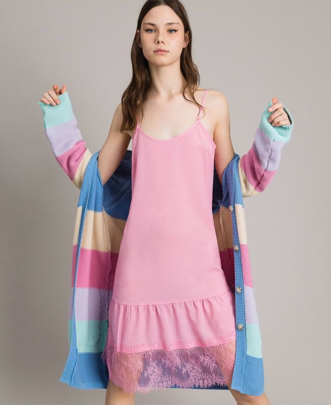 Crêpe de Chine slip dress with lace Hydrangea Pink Woman 191MP2453-01