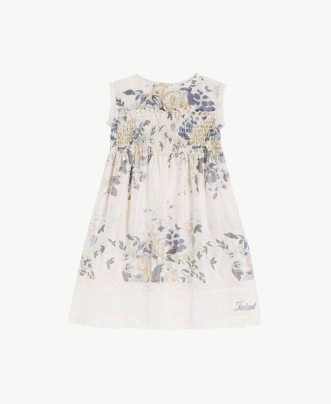 Silk dress Flowers Print / Light Smoke Grey Child FS82EN-01