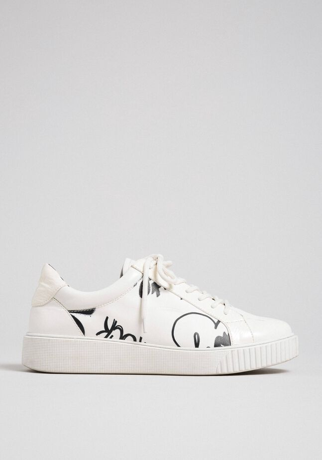 Printed faux leather trainers