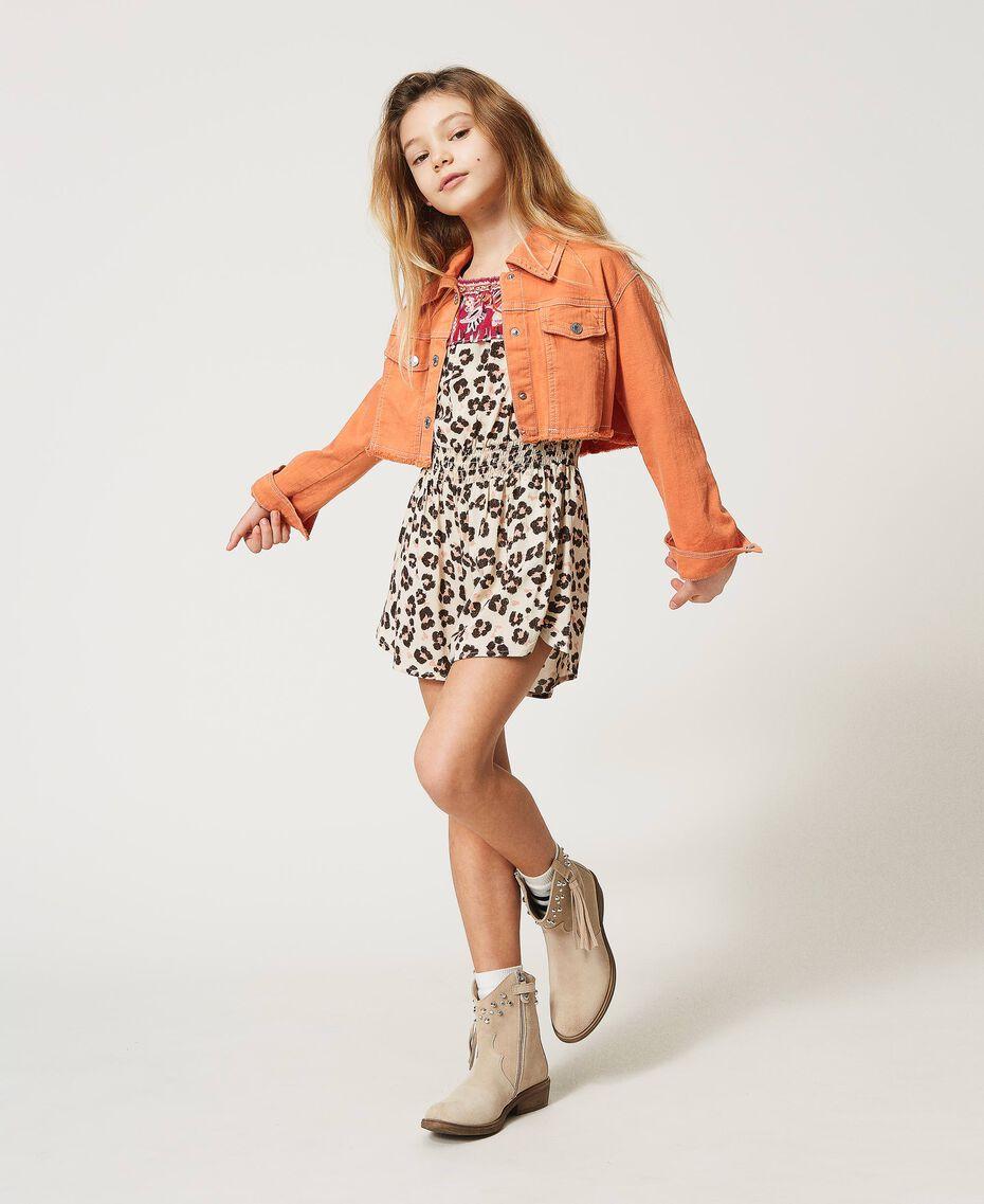 """Cropped bull jacket with logo """"Iceland Poppy"""" Orange Child 211GJ206B-01"""