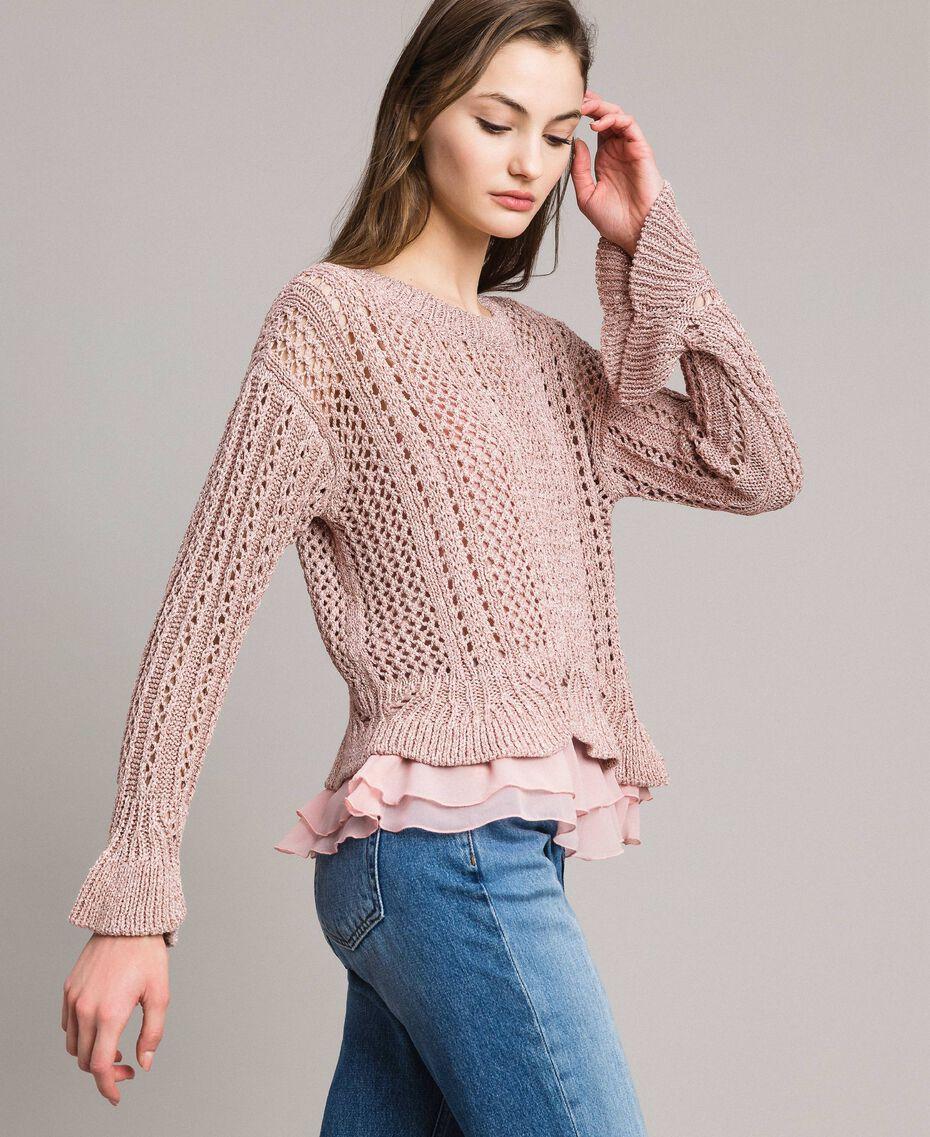 Lace stitch lurex top Pearl Pink Lurex Woman 191TP3351-02