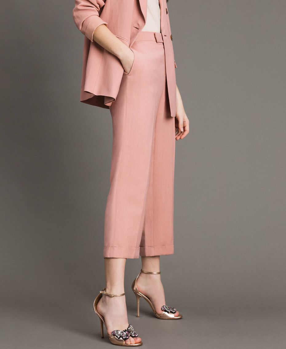 Cropped Hose aus Leinenmischung Perlrosa Frau 191TP2202-05