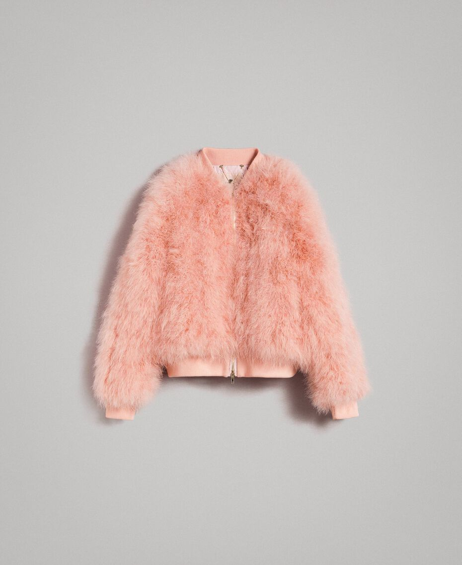 Feather bomber Pink Pearl Woman 191TP2080-0S