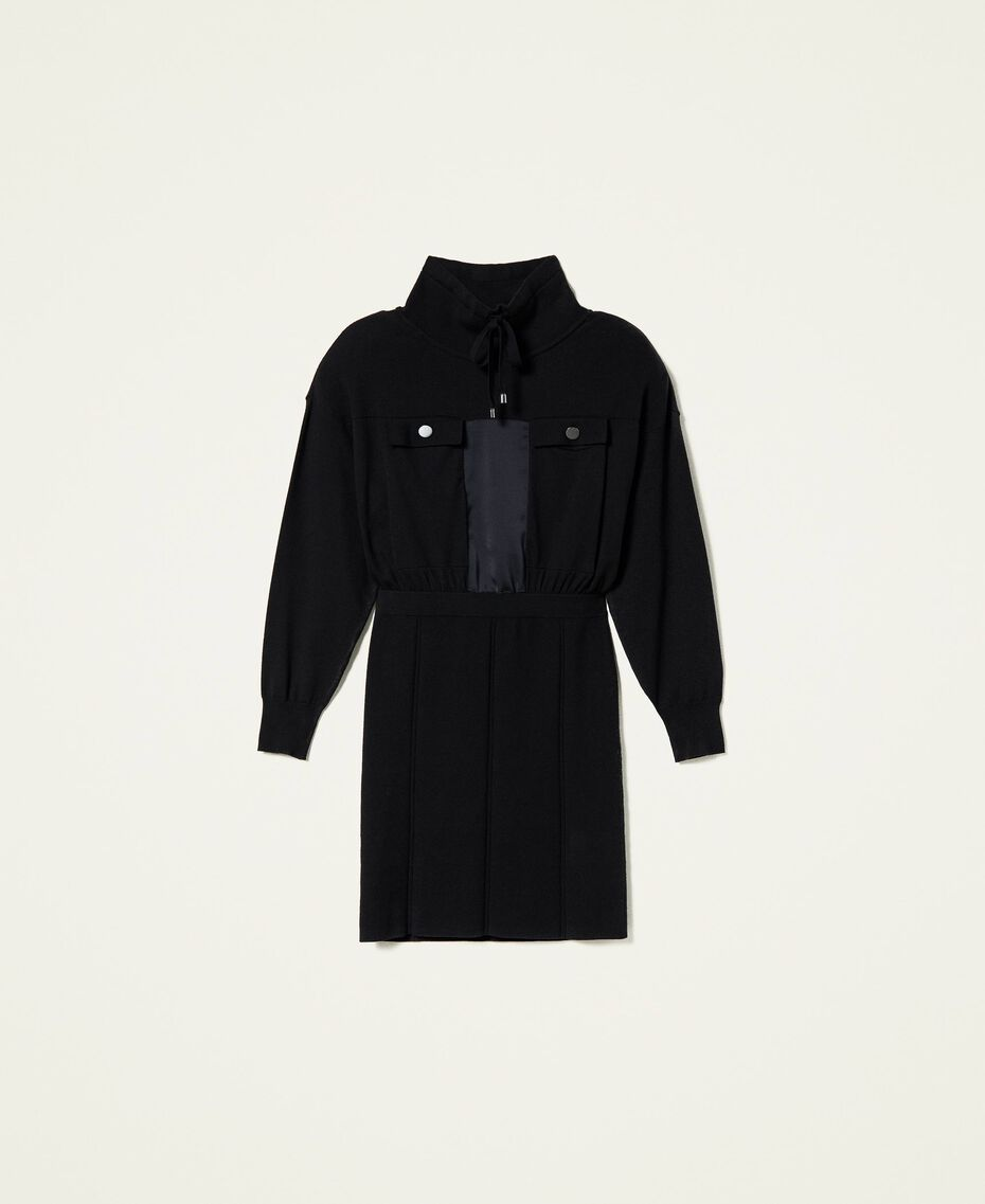 Robe en maille avec empiècements en satin Noir Femme 212AP3191-0S