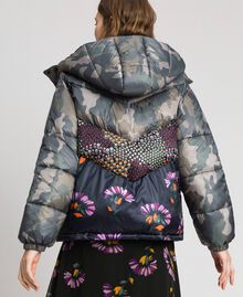 Short puffer jacket with camouflage and floral print Camouflage Print / Floral Woman 192TT2180-04