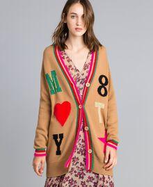Maxi wool blend cardigan with inlays Caramel Woman YA83AN-01