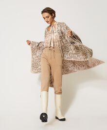 "Animal print jacquard wool cloth poncho ""Dune"" Beige Animal Print Woman 202MA432F-04"