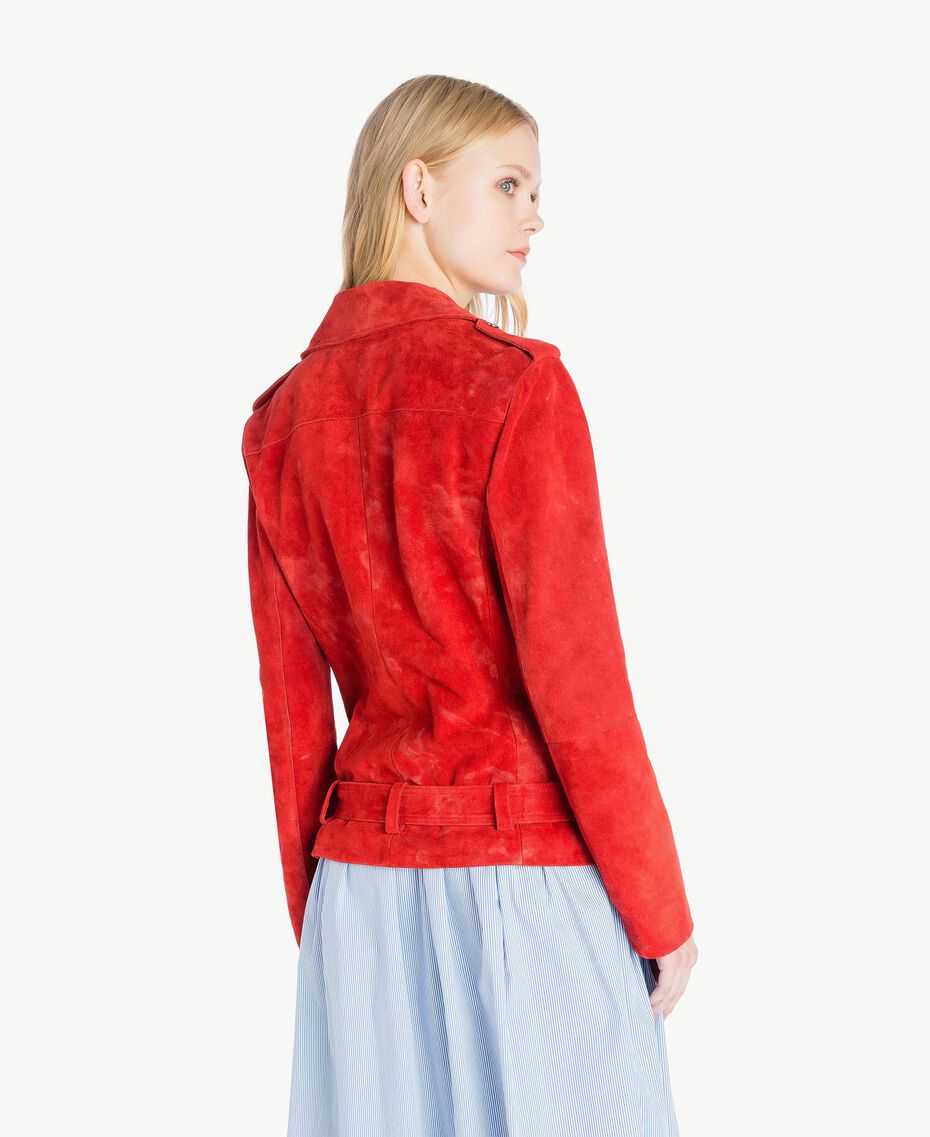 Suede biker jacket Vermilion Red Woman JS82AA-03
